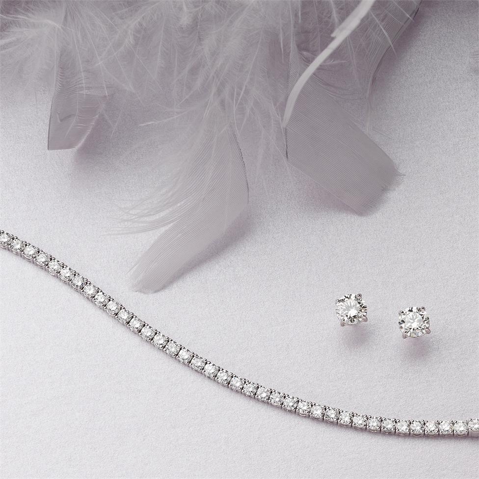 18ct White Gold Diamond Tennis Bracelet 5.10ct Thumbnail Image 2