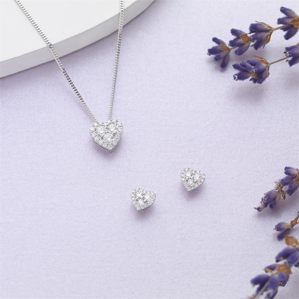 Adore 18ct White Gold Heart Design Diamond Pendant  Thumbnail Image 1