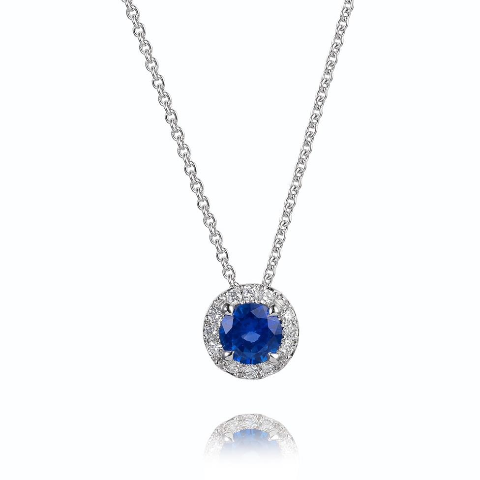 Camellia 18ct White Gold Sapphire and Diamond Halo Necklace Thumbnail Image 0