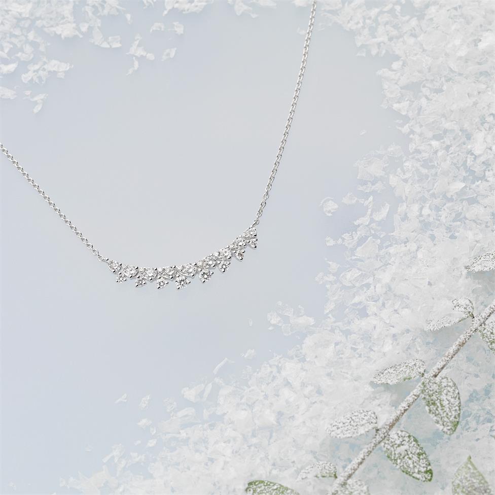 18ct White Gold Diamond Fine Petal Design Necklace Thumbnail Image 2