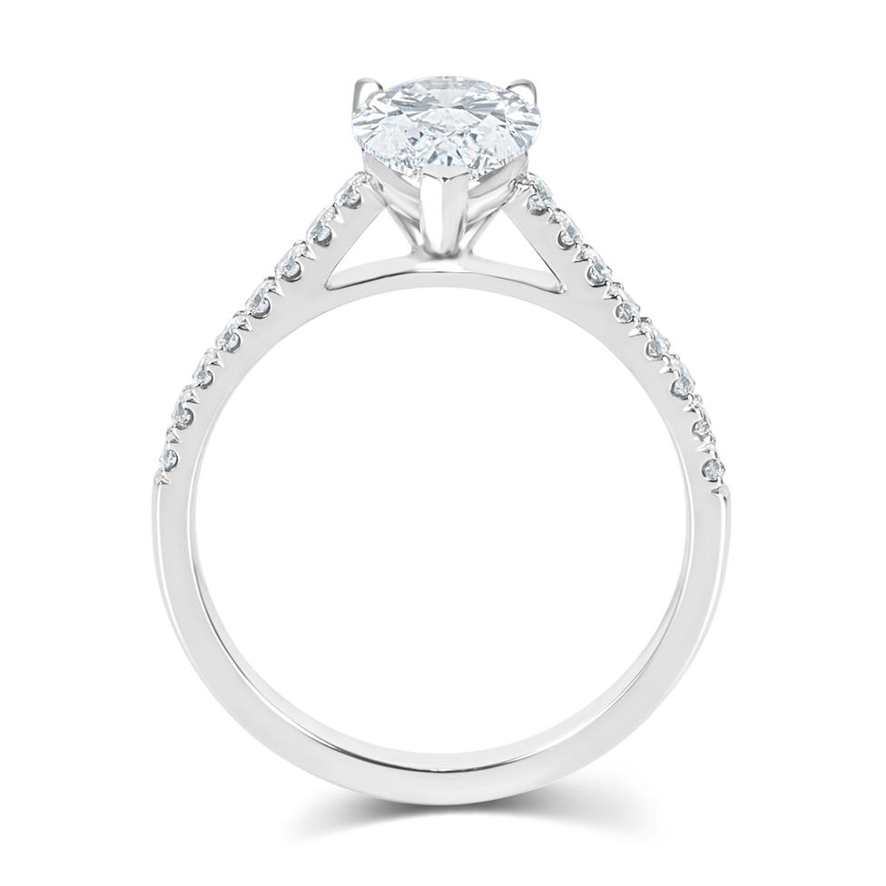 Platinum Pear Shape Diamond Solitaire Engagement Ring 1.70ct Thumbnail Image 2