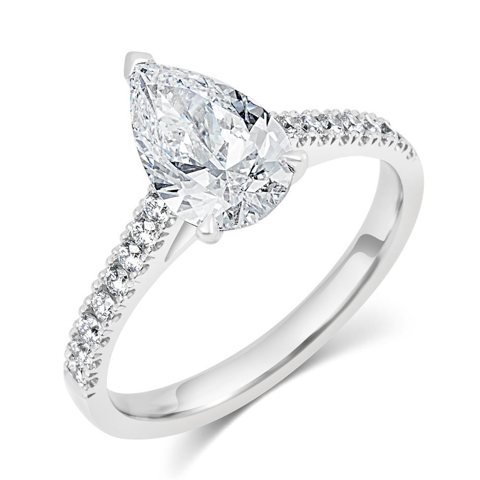 Platinum Pear Shape Diamond Solitaire Engagement Ring 1.70ct Thumbnail Image 0