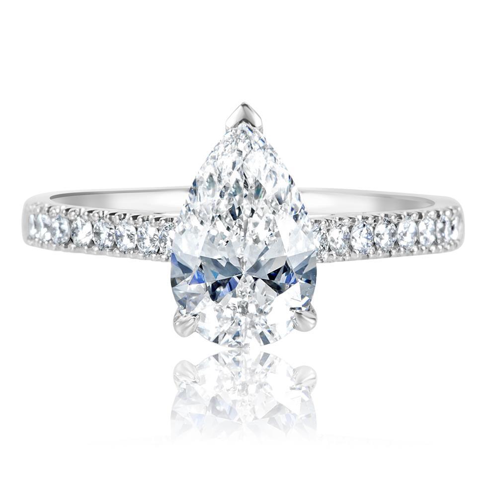 Platinum Pear Shape Diamond Solitaire Engagement Ring 1.70ct Thumbnail Image 1