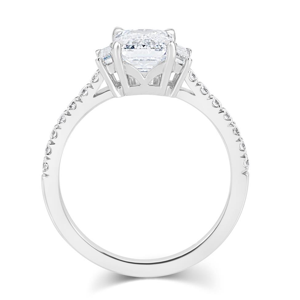 Platinum Emerald Cut Diamond Three Stone Engagement Ring 2.31ct Thumbnail Image 3