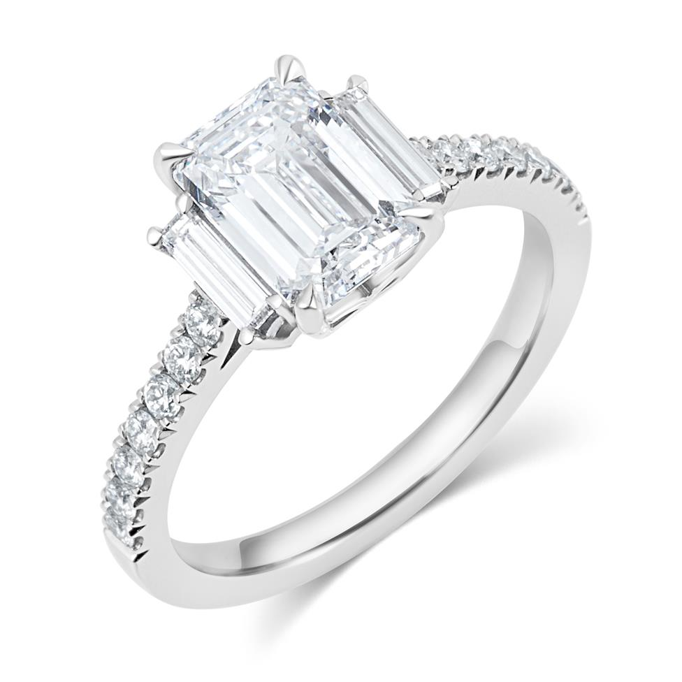 Platinum Emerald Cut Diamond Three Stone Engagement Ring 2.31ct Thumbnail Image 0