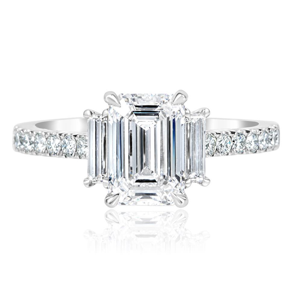 Platinum Emerald Cut Diamond Three Stone Engagement Ring 2.31ct Thumbnail Image 2
