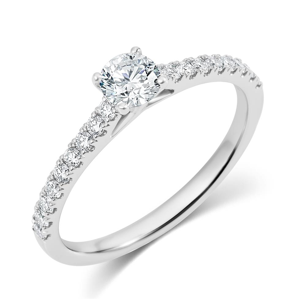 Platinum Diamond Solitaire Engagement Ring 0.65ct Image 1