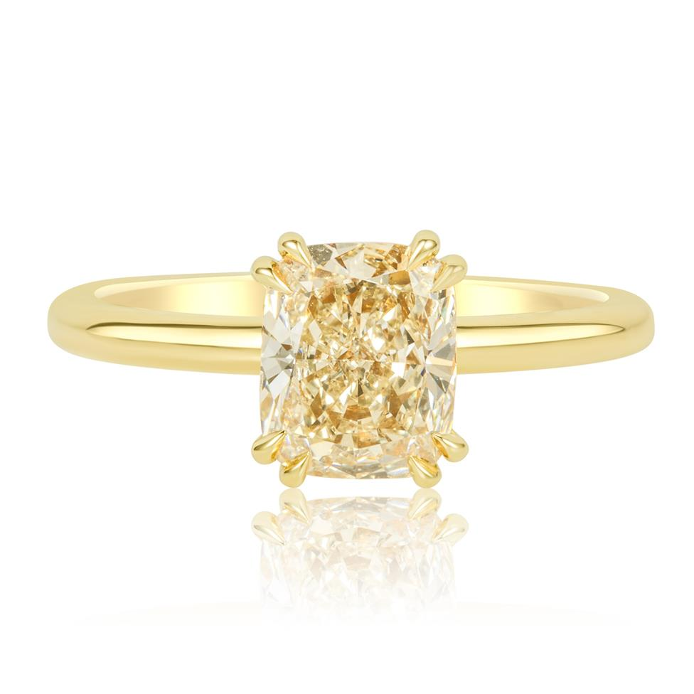 18ct Yellow Gold Cushion Cut Natural Champagne Diamond Solitaire Engagement Ring 1.51ct Thumbnail Image 2