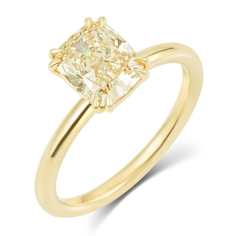 18ct Yellow Gold Cushion Cut Natural Champagne Diamond Solitaire Engagement Ring 1.51ct Thumbnail Image 0