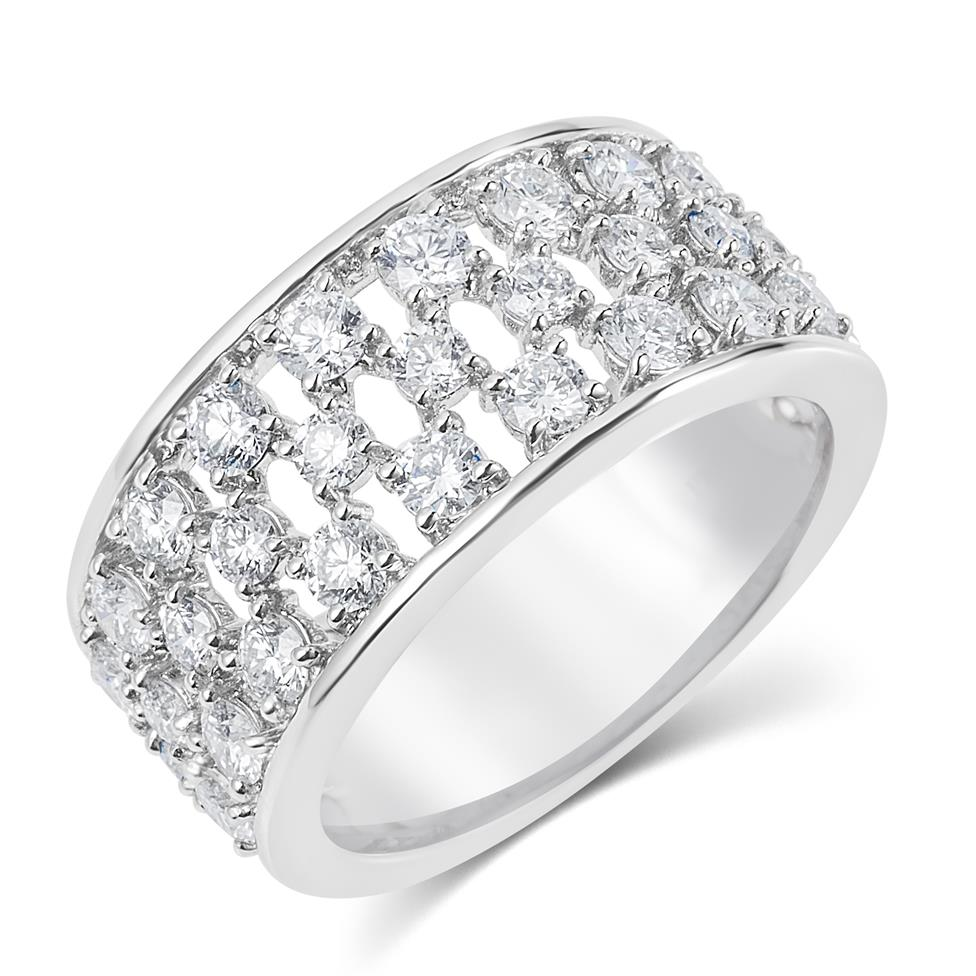 18ct White Gold Lattice Design Diamond Dress Ring 1.58ct Thumbnail Image 0