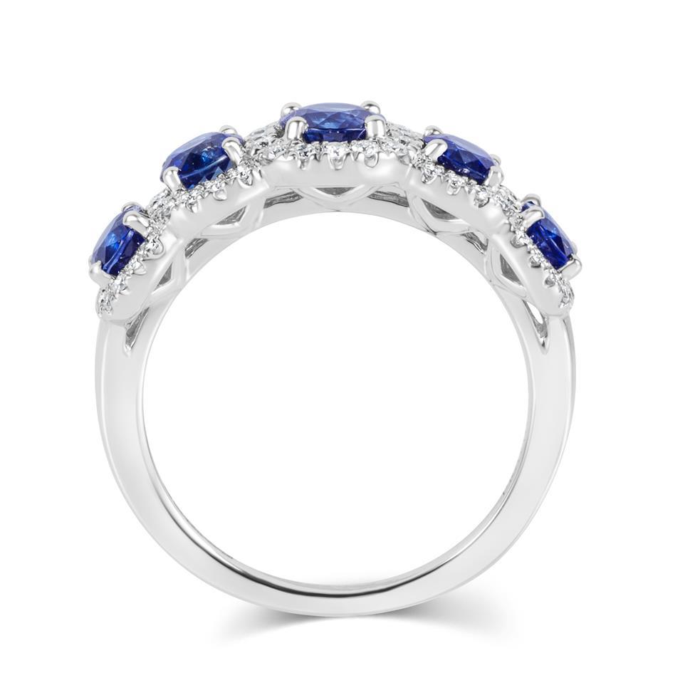 18ct White Gold Sapphire and Diamond Halo Dress Ring Thumbnail Image 2