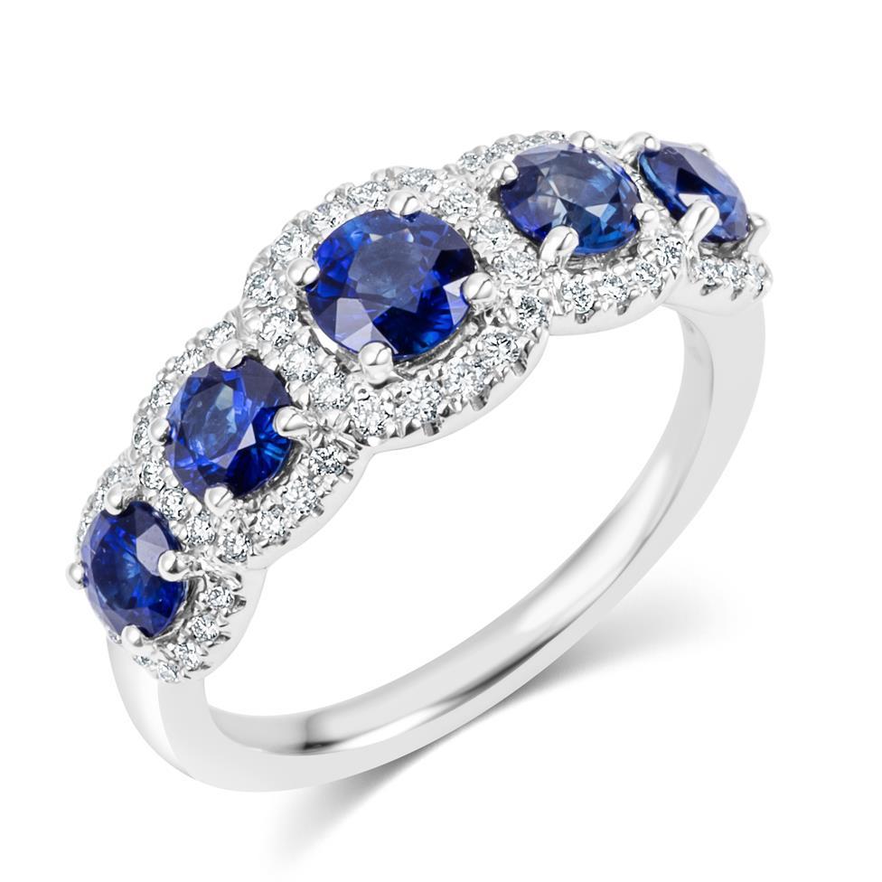 18ct White Gold Sapphire and Diamond Halo Dress Ring Thumbnail Image 0