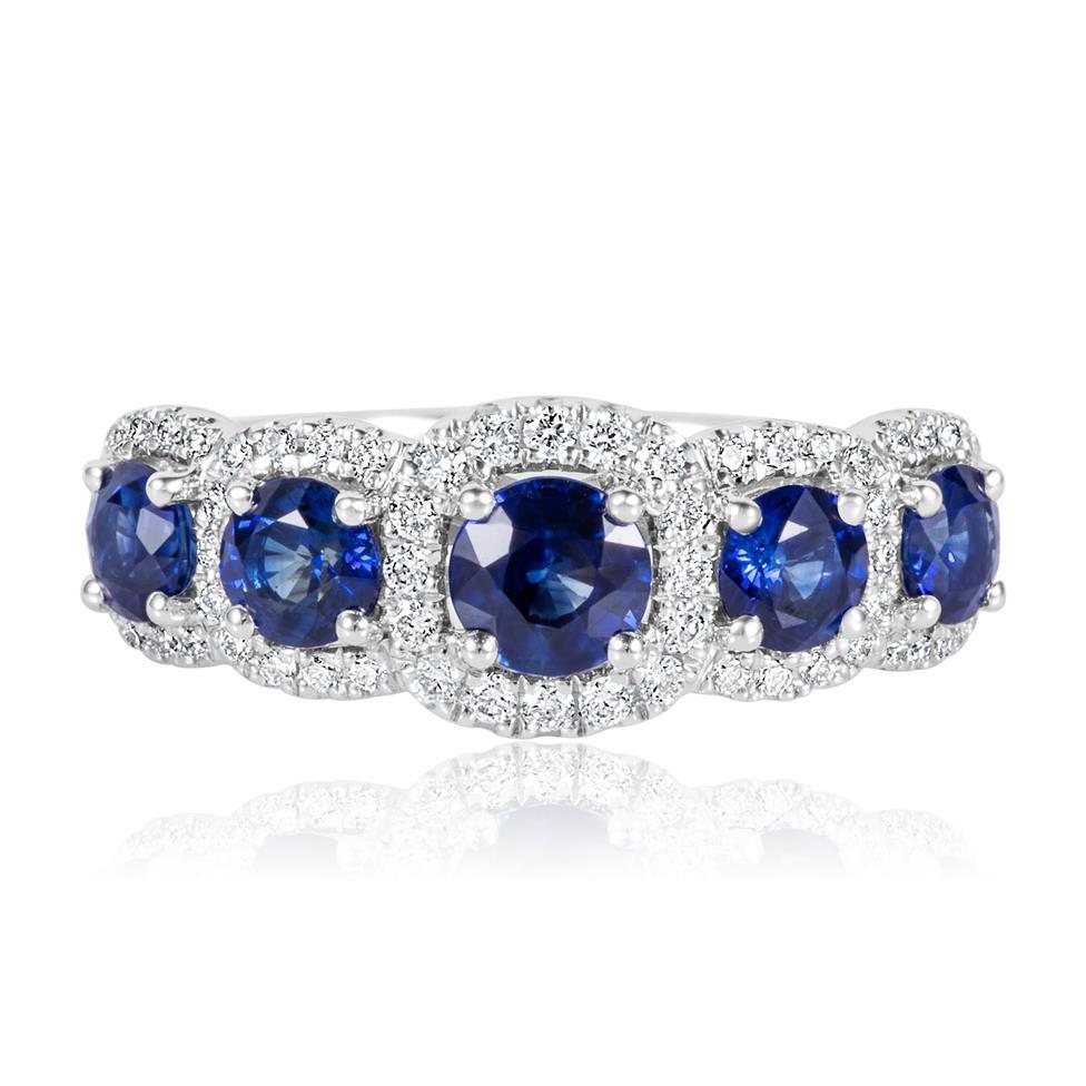 18ct White Gold Sapphire and Diamond Halo Dress Ring Thumbnail Image 1