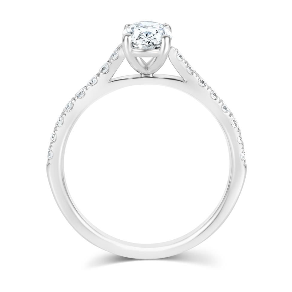 Platinum Oval Diamond Solitaire Engagement Ring 1.00ct Thumbnail Image 3