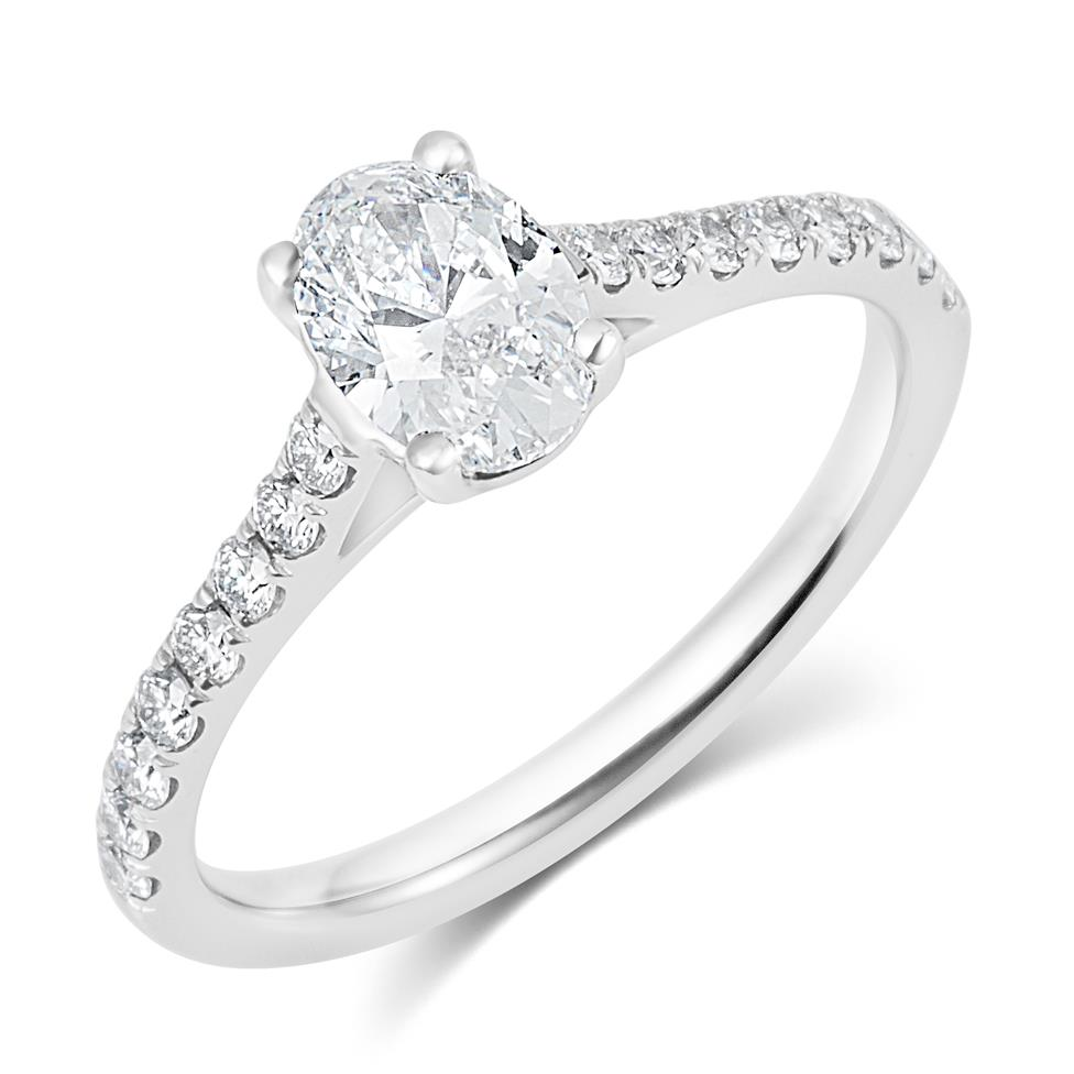 Platinum Oval Diamond Solitaire Engagement Ring 1.00ct Thumbnail Image 0
