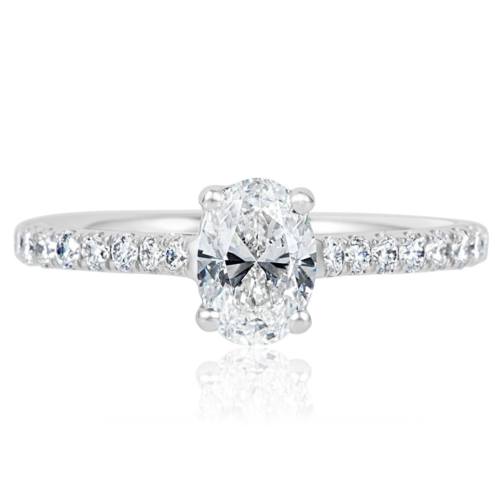 Platinum Oval Diamond Solitaire Engagement Ring 1.00ct Thumbnail Image 2