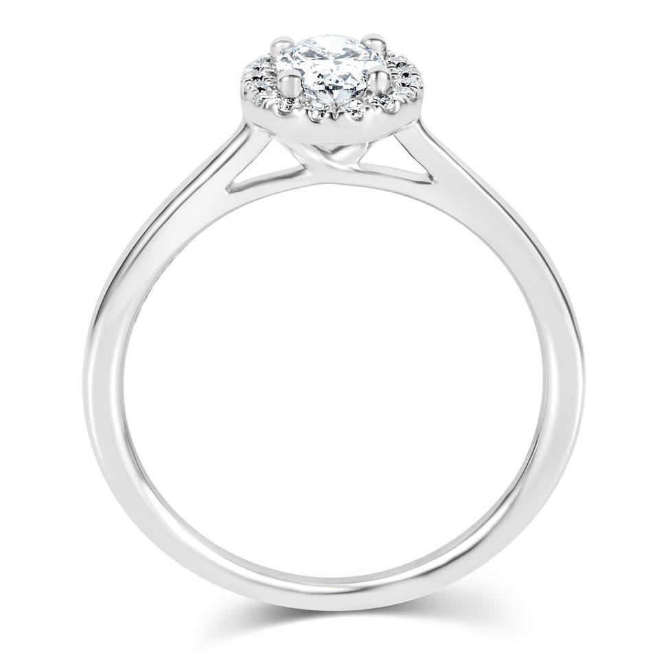 Platinum Oval Diamond Halo Engagement Ring 0.65ct Thumbnail Image 2