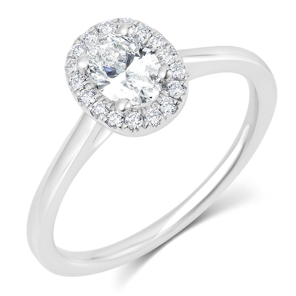Platinum Oval Diamond Halo Engagement Ring 0.65ct Thumbnail Image 0