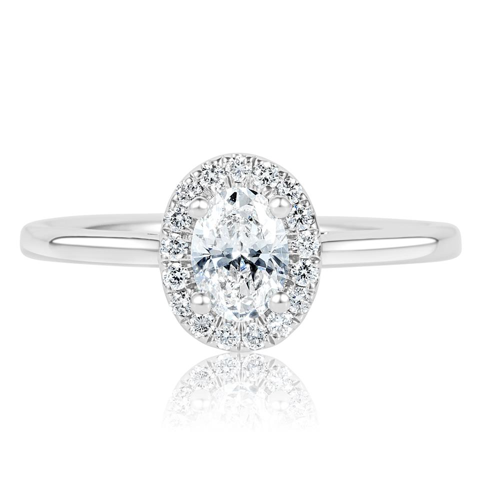Platinum Oval Diamond Halo Engagement Ring 0.65ct Thumbnail Image 1