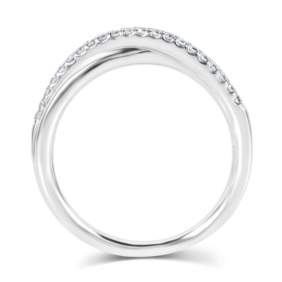 Platinum Diamond Set Crossover Design Wedding Ring 0.18ct Thumbnail Image 2