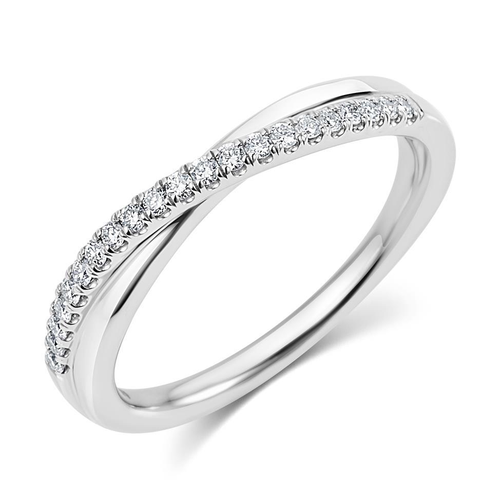 Platinum Diamond Set Crossover Design Wedding Ring 0.18ct Thumbnail Image 0