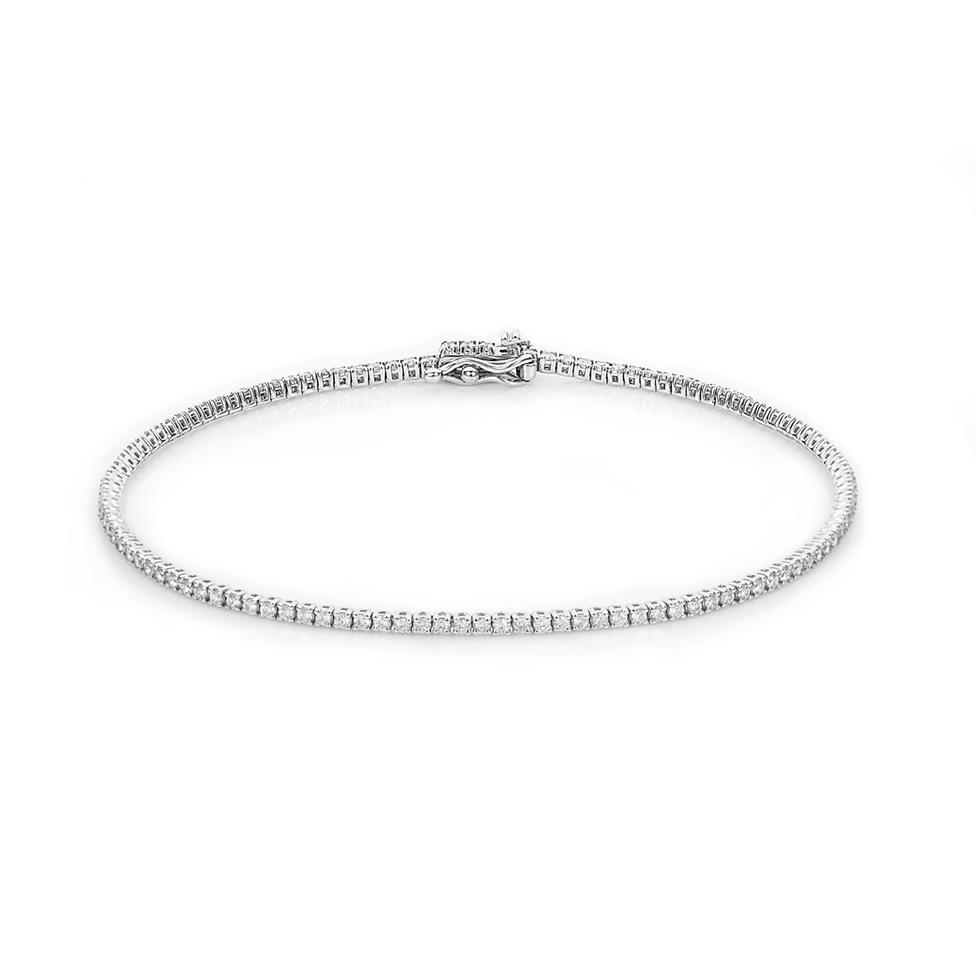 18ct White Gold Diamond Tennis Bracelet 1.00ct Thumbnail Image 0