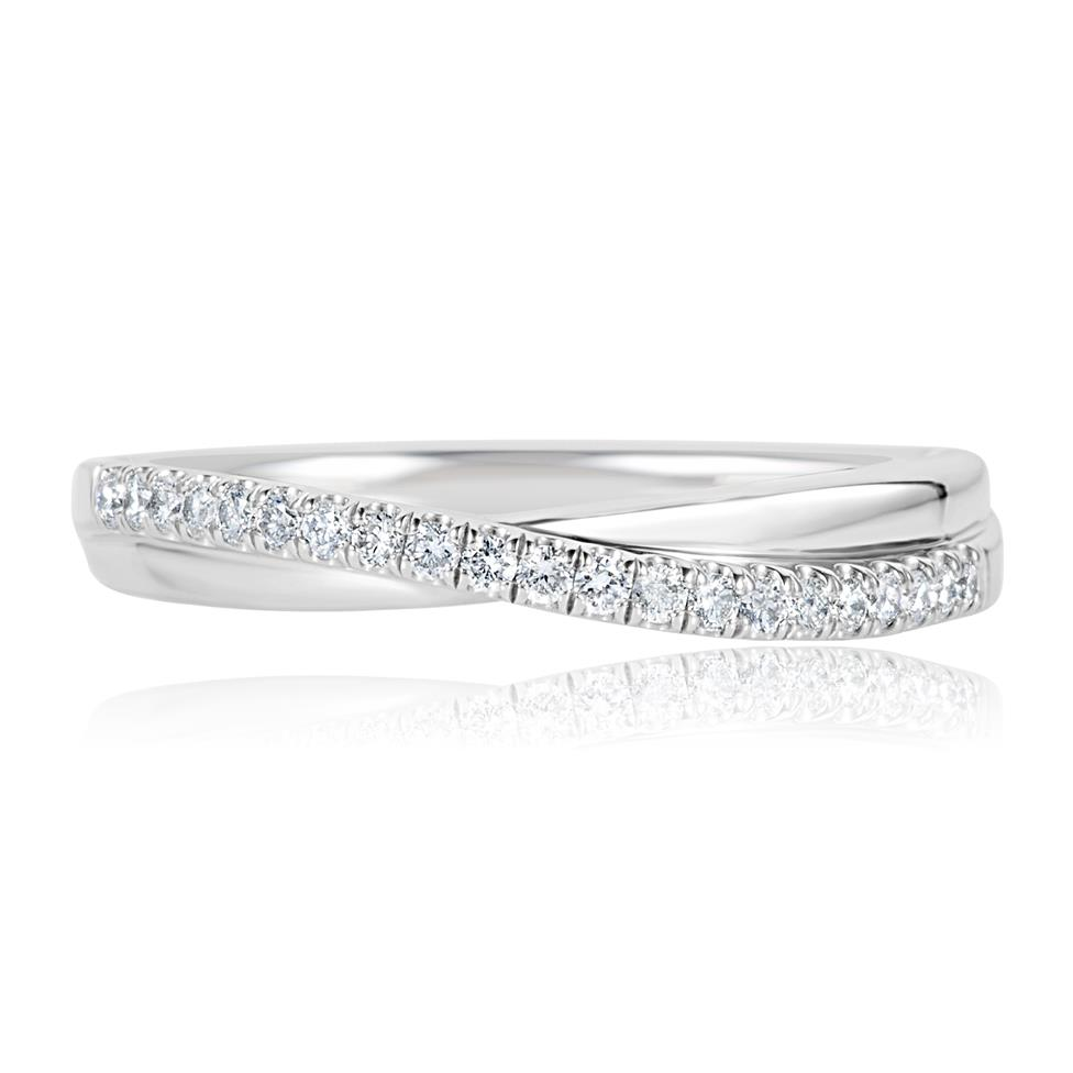 Platinum Diamond Set Crossover Design Wedding Ring 0.18ct Thumbnail Image 1