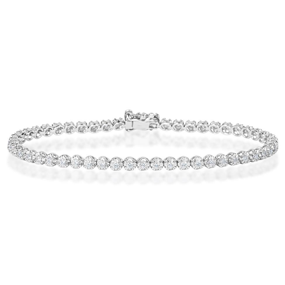 18ct White Gold Diamond Tennis Bracelet 0.93ct Thumbnail Image 0