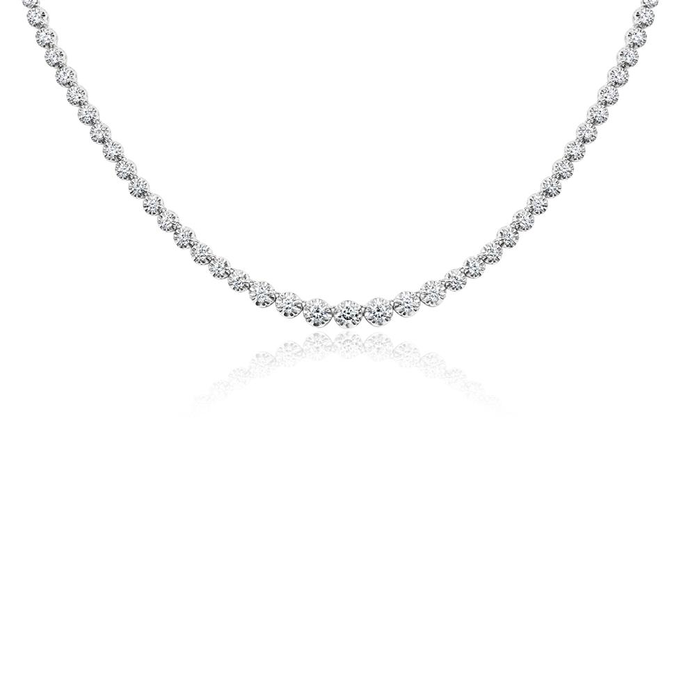 18ct White Gold Illusion Detail Diamond Riviere Necklace 3.14ct Thumbnail Image 0