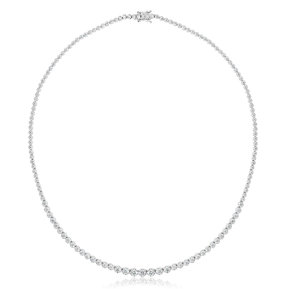 18ct White Gold Illusion Detail Diamond Riviere Necklace 3.14ct Thumbnail Image 1