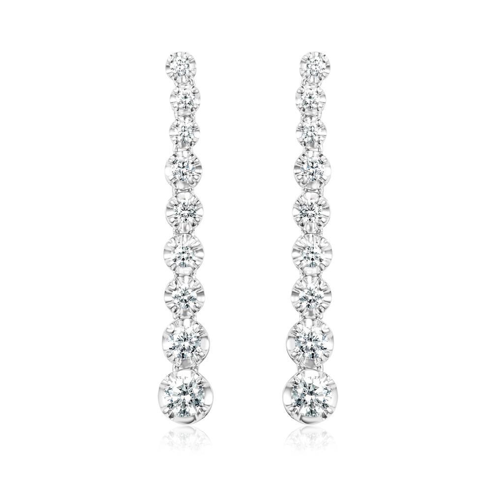 18ct White Gold Illusion Detail Diamond Drop Earrings 30mm Thumbnail Image 0