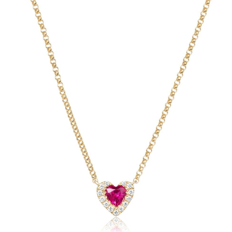 18ct Yellow Gold Heart Shape Ruby and Diamond Necklace Thumbnail Image 0