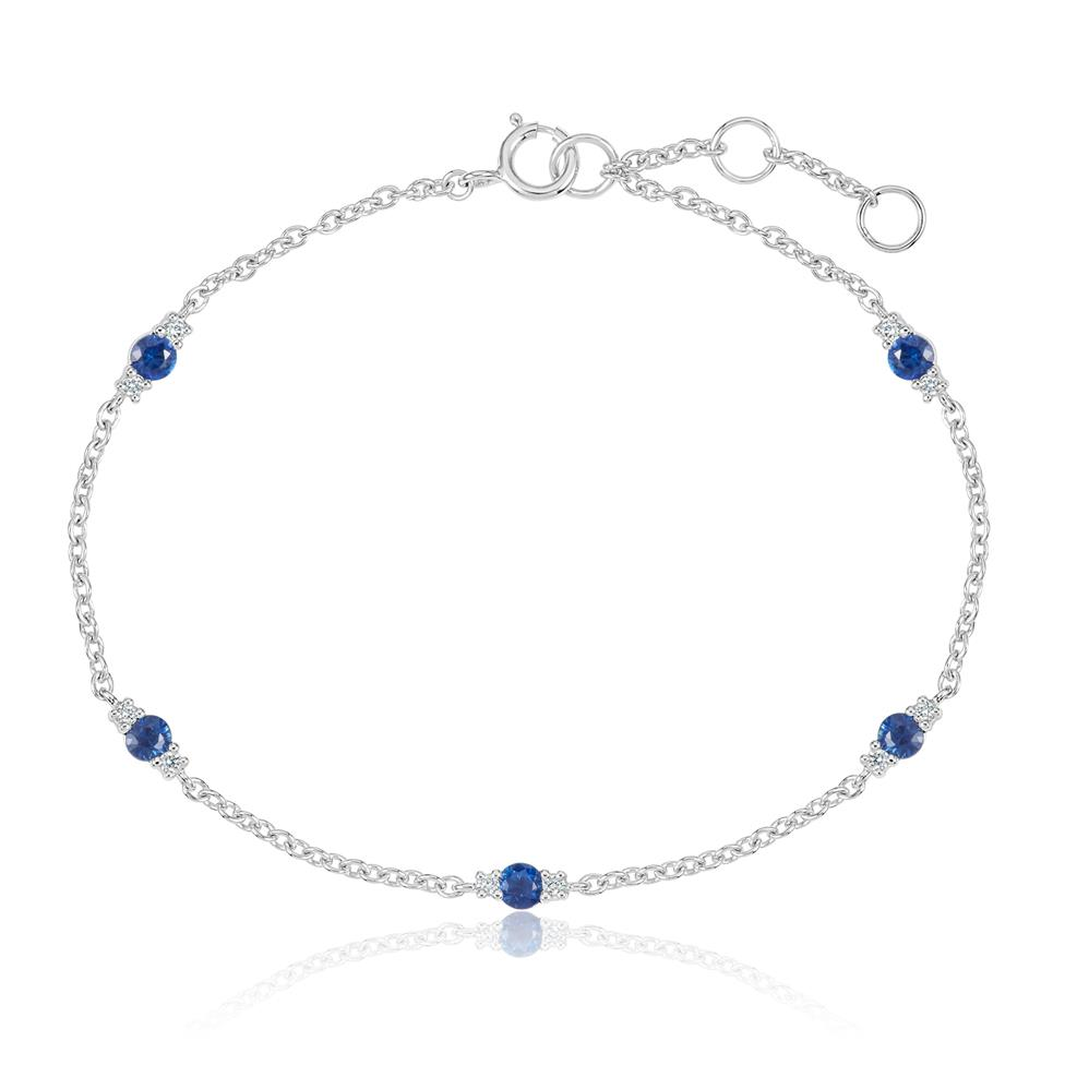 18ct White Gold Sapphire and Diamond Station Bracelet Thumbnail Image 0