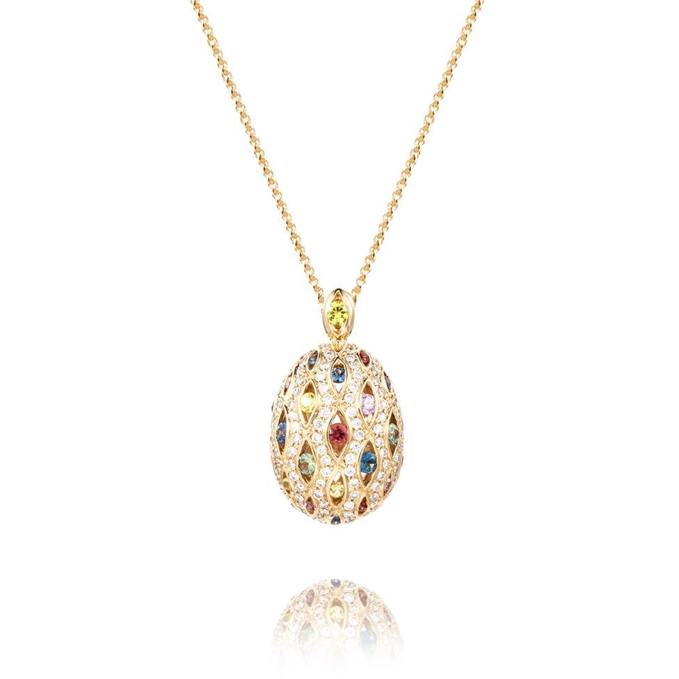 Samba 18ct Yellow Gold Cocoon Design Rainbow Sapphire and Diamond Pendant Thumbnail Image 0