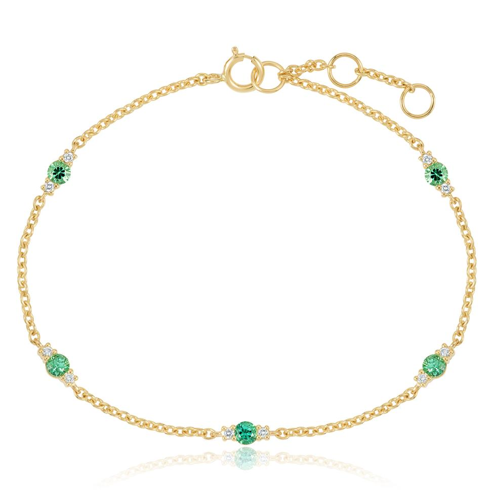 18ct Yellow Gold Emerald and Diamond Station Bracelet Thumbnail Image 0