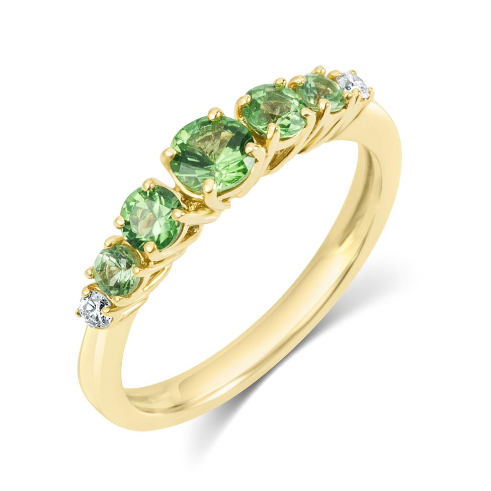 Bonbon 18ct Yellow Gold Tsavorite and Diamond Dress Ring Thumbnail Image 0