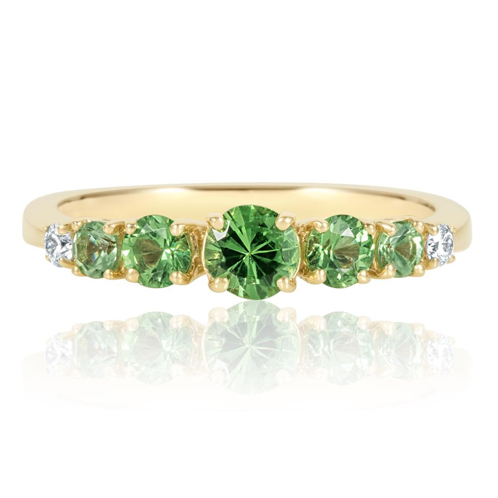 Bonbon 18ct Yellow Gold Tsavorite and Diamond Dress Ring Thumbnail Image 2
