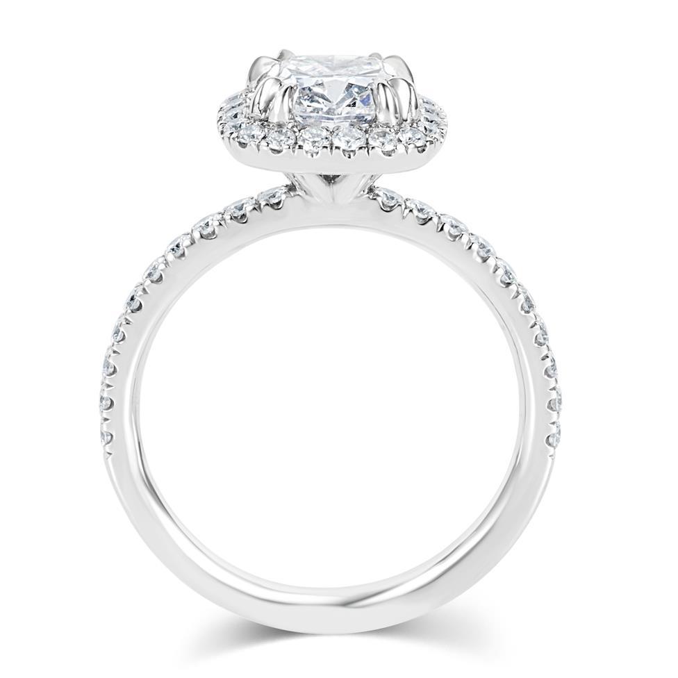 Platinum Cushion Cut Diamond Halo Engagement Ring 2.05ct Thumbnail Image 2