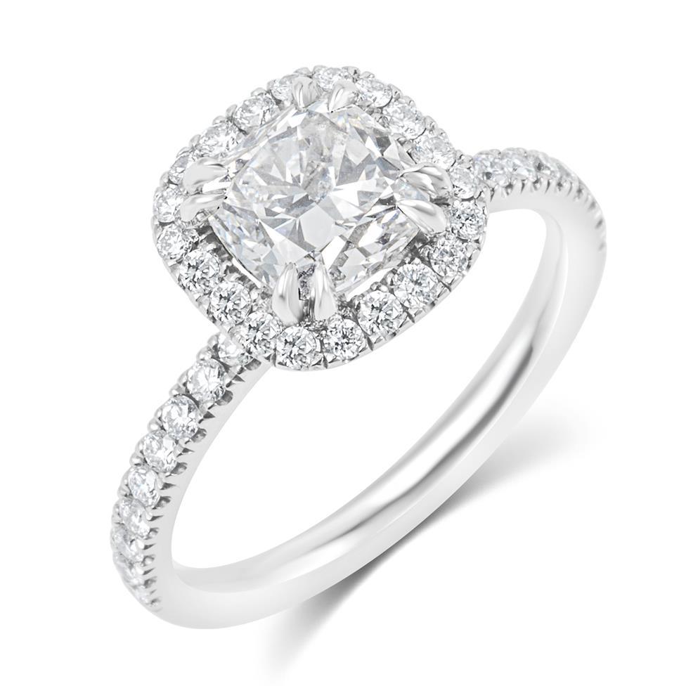Platinum Cushion Cut Diamond Halo Engagement Ring 2.05ct Thumbnail Image 0