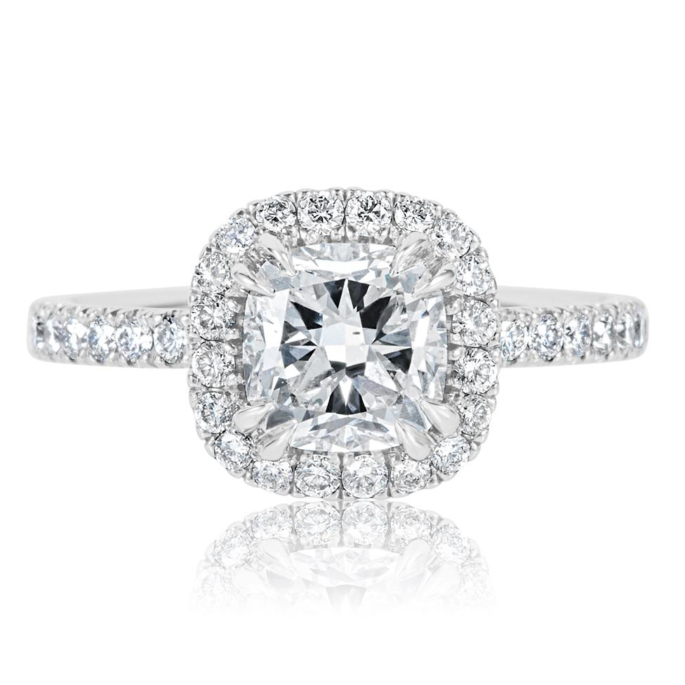 Platinum Cushion Cut Diamond Halo Engagement Ring 2.05ct Thumbnail Image 1