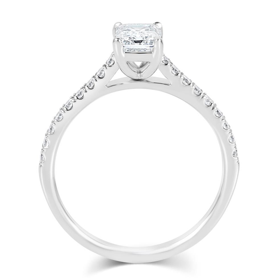 Platinum Emerald Cut Solitaire Diamond Engagement Ring 0.95ct Thumbnail Image 2