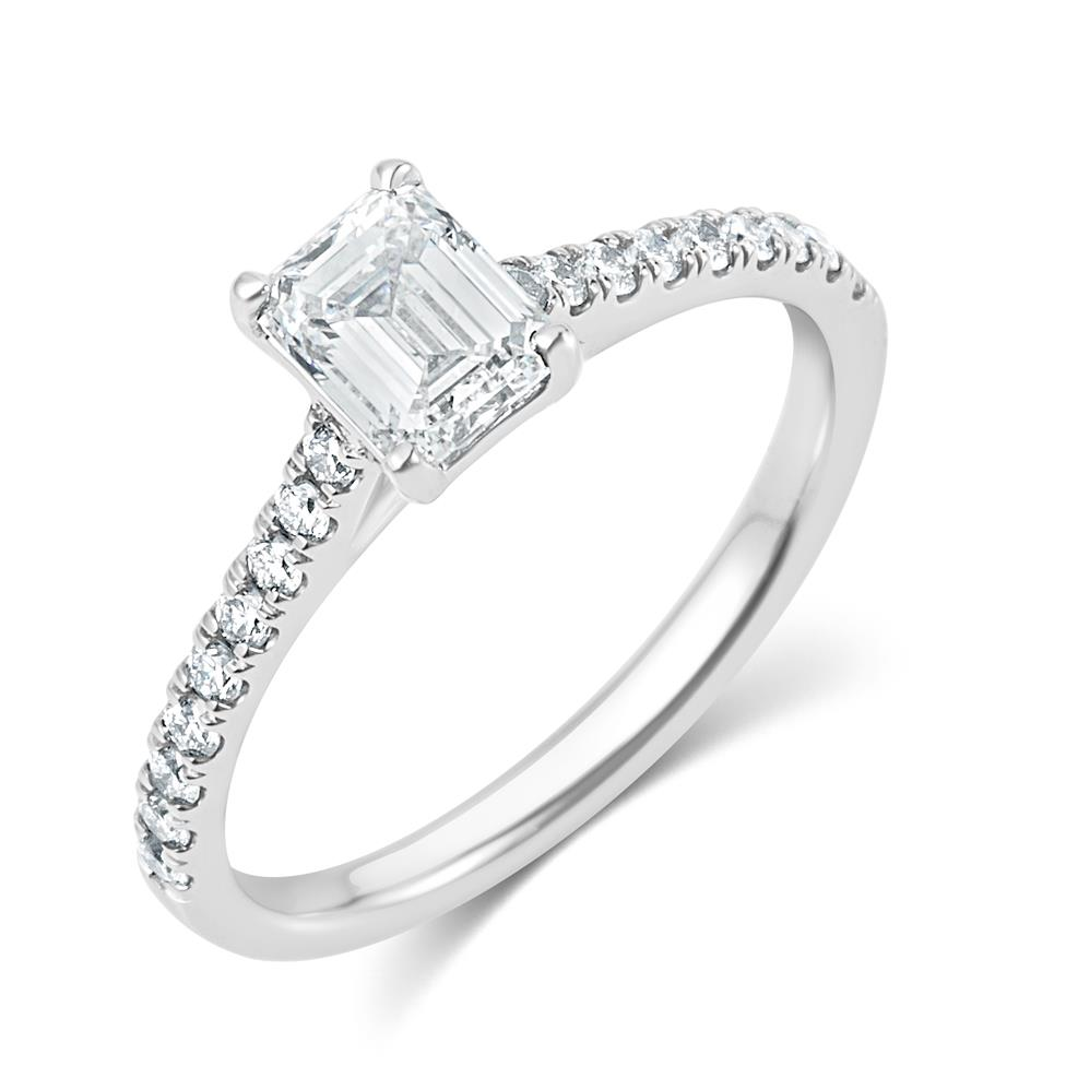 Platinum Emerald Cut Solitaire Diamond Engagement Ring 0.95ct Thumbnail Image 0