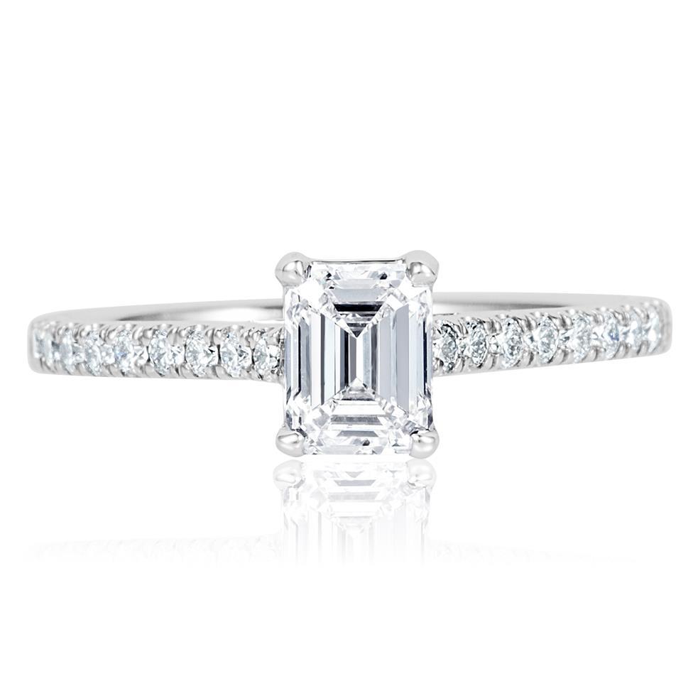 Platinum Emerald Cut Solitaire Diamond Engagement Ring 0.95ct Thumbnail Image 1