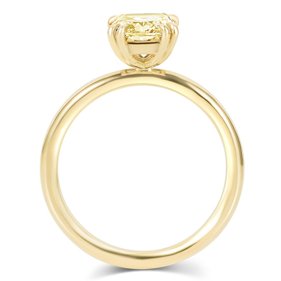 18ct Yellow Gold Cushion Cut Natural Champagne Diamond Solitaire Engagement Ring 1.51ct Thumbnail Image 3
