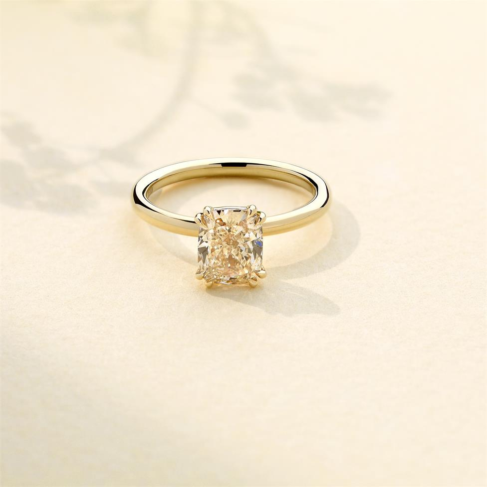 18ct Yellow Gold Cushion Cut Natural Champagne Diamond Solitaire Engagement Ring 1.51ct Thumbnail Image 1