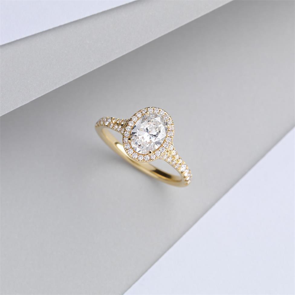 18ct Yellow Gold Split Shoulder Detail Oval Diamond Halo Engagement Ring 1.63ct Thumbnail Image 1