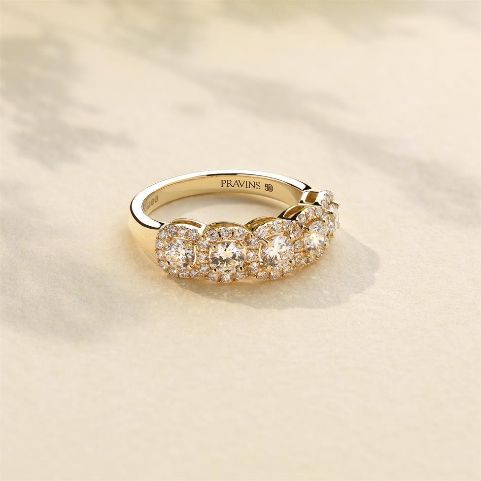 18ct Yellow Gold Five Stone Halo Detail Diamond Dress Ring 1.20ct Thumbnail Image 1
