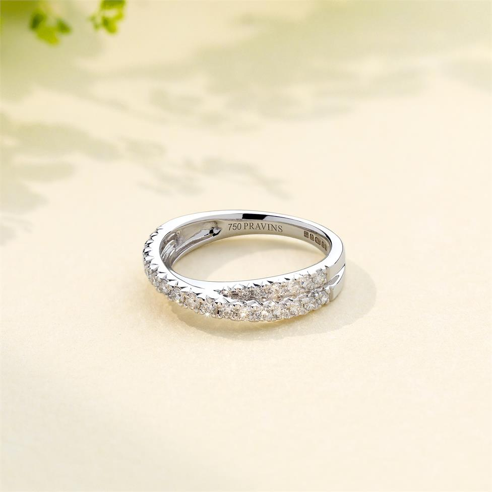 18ct White Gold Crossover Design Diamond Dress Ring 0.50ct Thumbnail Image 1