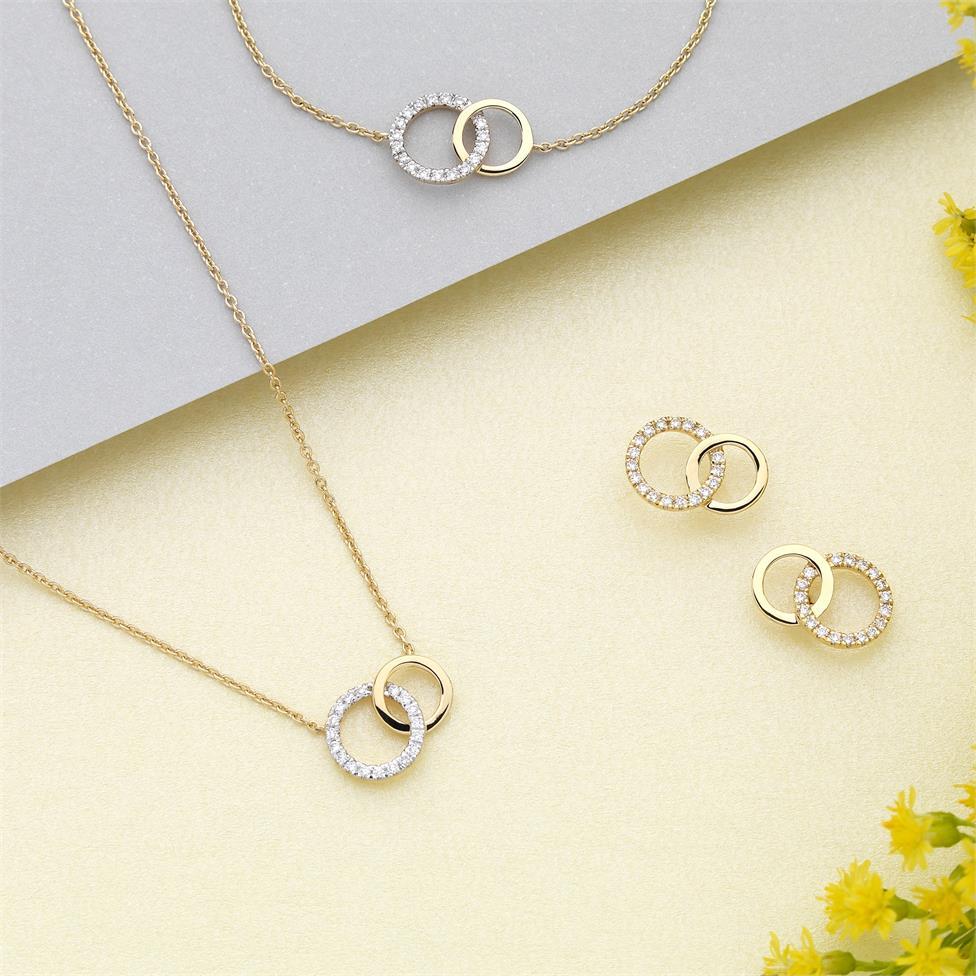 Union 18ct Yellow Gold Diamond Stud Earrings Thumbnail Image 2