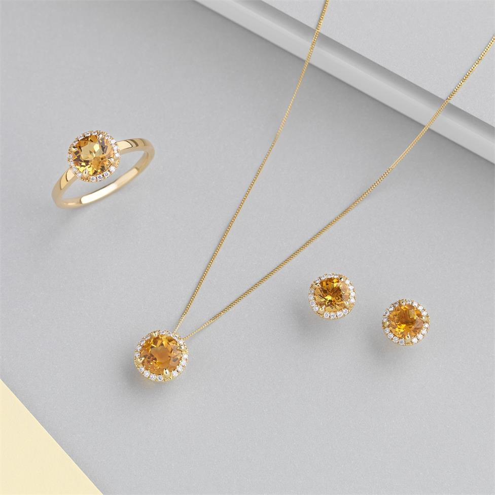 Camellia 18ct Yellow Gold Citrine and Diamond Halo Pendant Thumbnail Image 2